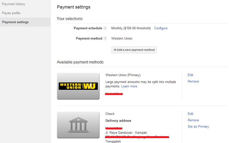 ara Mengubah Settingan Pembayaran Google AdSense Melalui Western Union 6