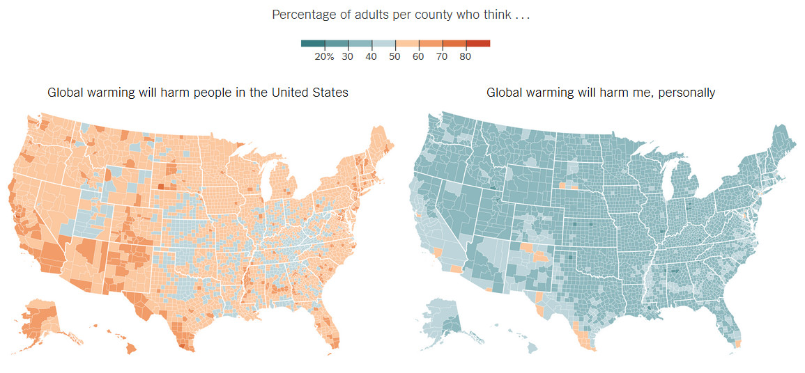Percentage of adults per county who think Global warming will harm people in the U.S. and my personally