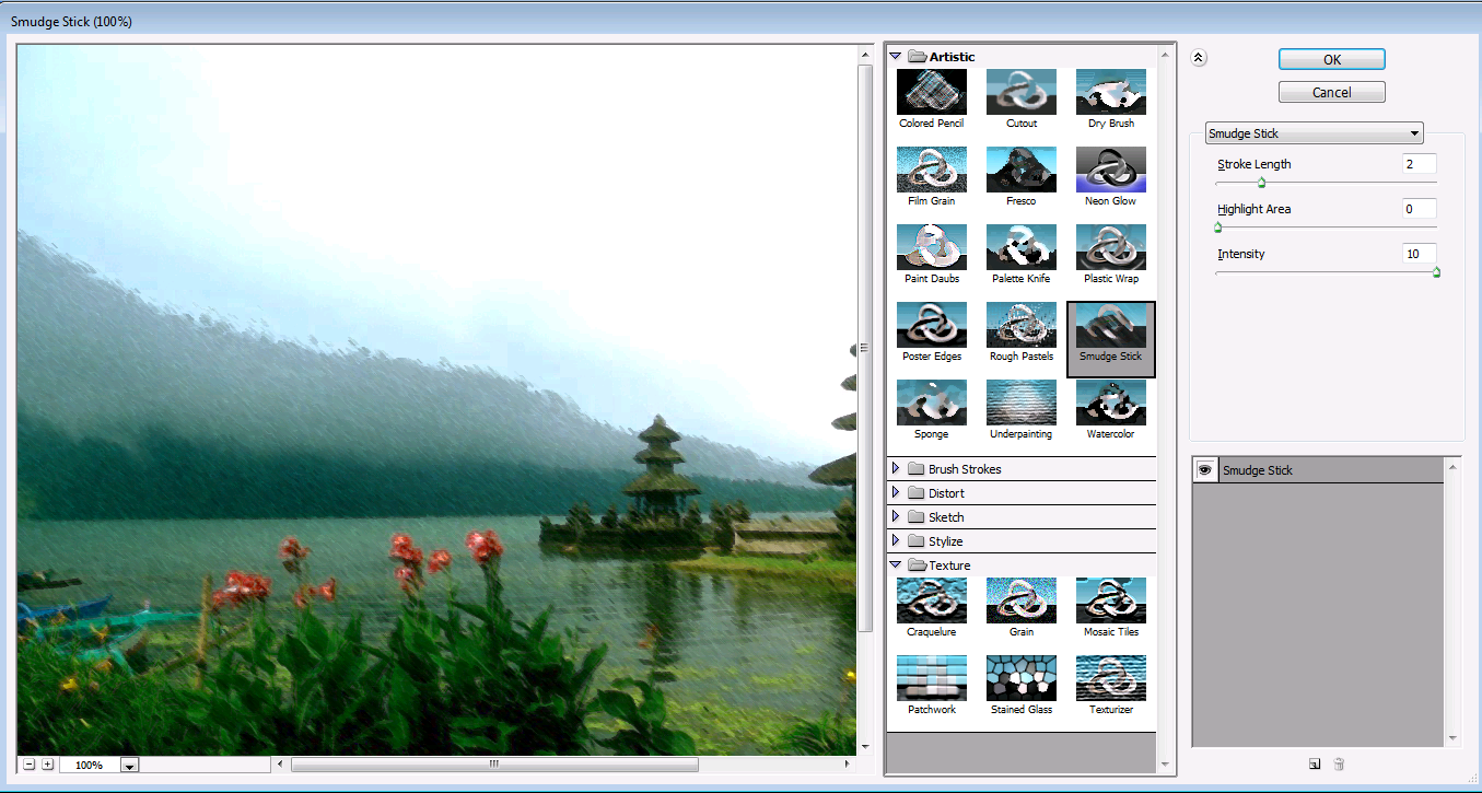 settingan untuk effect filter galery photoshop