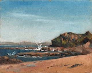 Oil painting of a rocky headland with waves splashing on rocks.