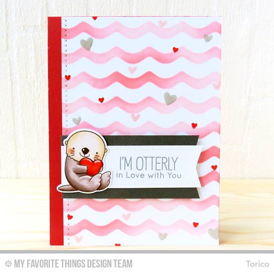 Handmade card from Torico featuring So Much Love stamp set, Birdie Brown Otterly Love You stamp set and Die-namics, Basic Stitch Lines Die-namics, Waves stencil #mftstamps