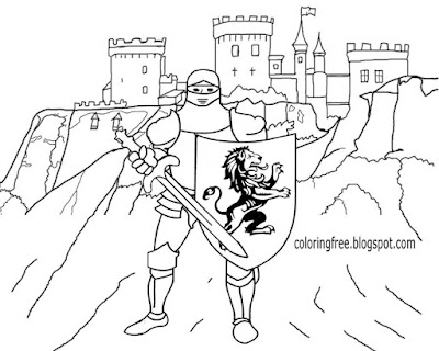 Round table knight Camelot castle and court famous King Arthur medieval coloring page for teenagers