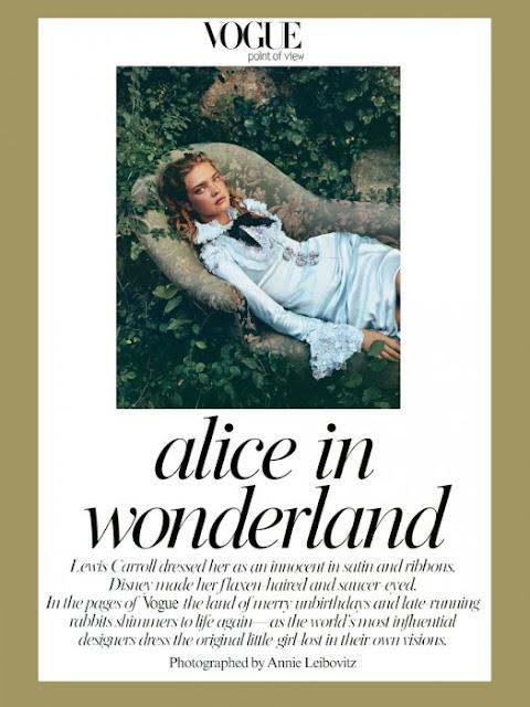 Karl Largerfeld e Alice no pais das maravilhas, Vogue, vestido azul