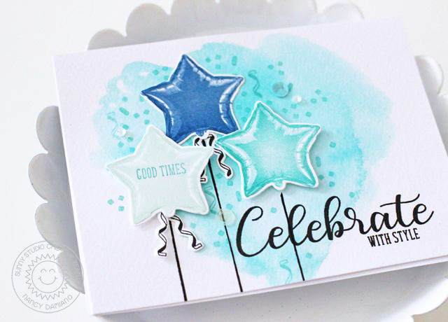 Sunny Studio Stamps: Bold Balloons Dreamy Watercolored Background Card by Nancy Damiano