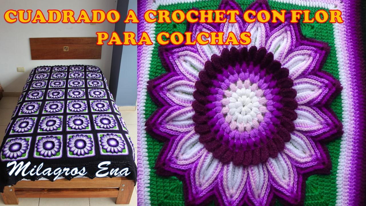 Milagros Ena Cuadrado Tejido A Crochet Para Colchas Y Cojines Con