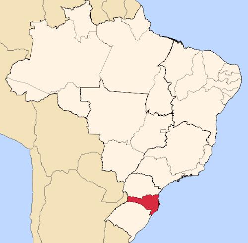 Mapa de localização de Santa Catarina no Brasil