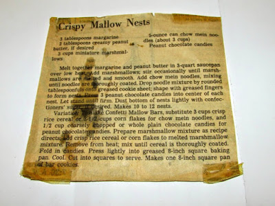 yellowed newspaper clipping with crispy mallow nest recipe