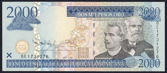 Dominican Republic currency 2000 Pesos Oro banknote 2009 Jose Rufino Reyes & Emilio Prud'Homme