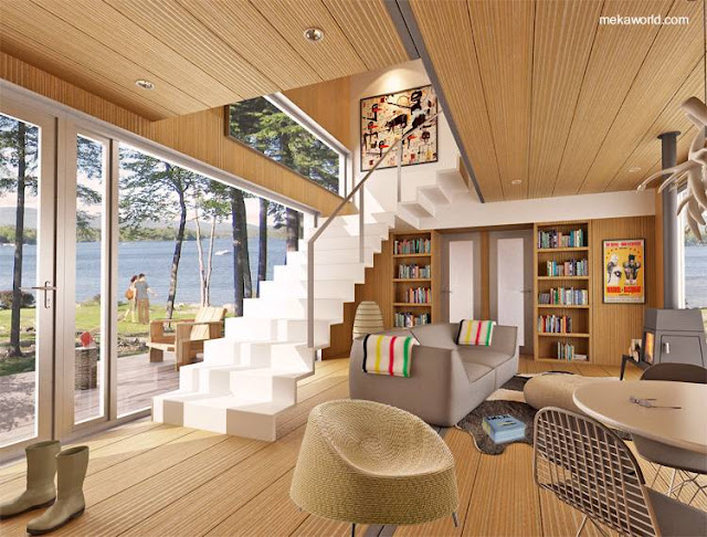 Interior de una casa cabaña de contenedores cubiertos de madera