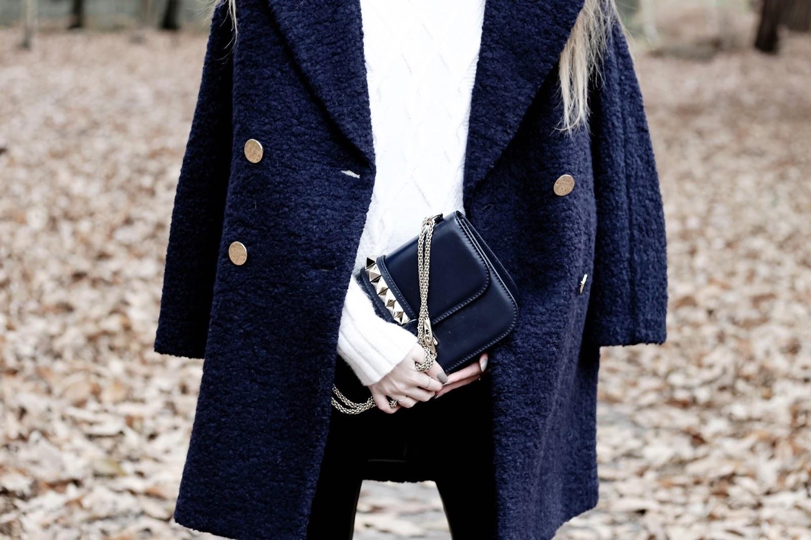 Navy Blue Long Teddy Bear Coat