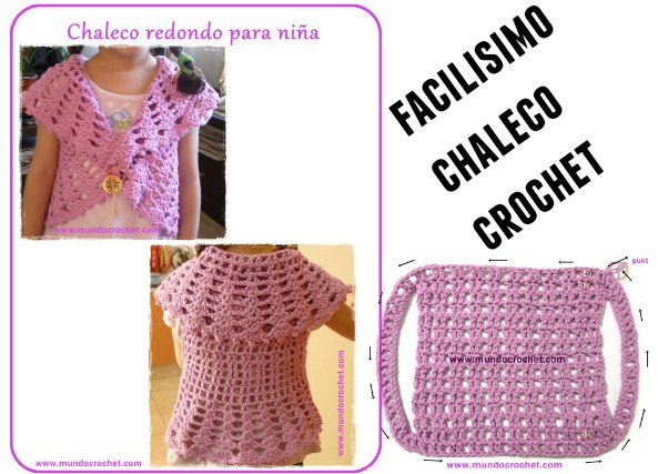 Patron Crochet Chaleco Rosa