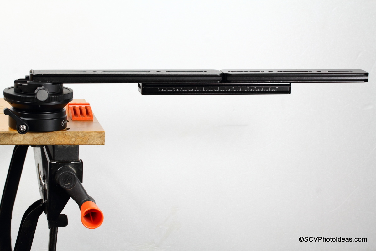 Sunwayfoto DYH-90 on workbench w/ elongated rail
