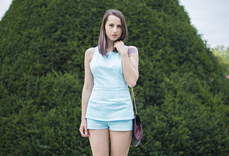 Tobi light blue romper peplum