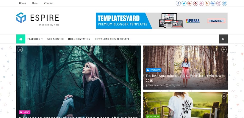 Espire Free Blogger Template