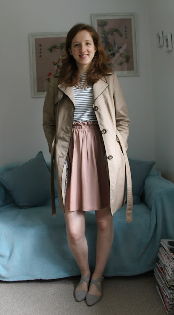 Primark, Stripes, Pink, New Look Skirt, New Look, Primark Stripey Top, Primark Top, Mac Coat, H&M, Accessorize, Pointed Shoes, Pointed Sandals, Outfit, OOTD, Outfit Of The Day, Fashion, fashion blogger