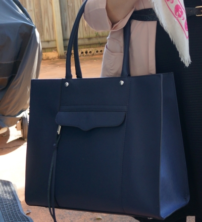 Navy RM medium MAB tote bag with LBD black fit and flare dress