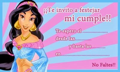 invitación príncipes y princesas de Disney