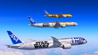 Fleet of ANA Star Wars jetliners in differing designs