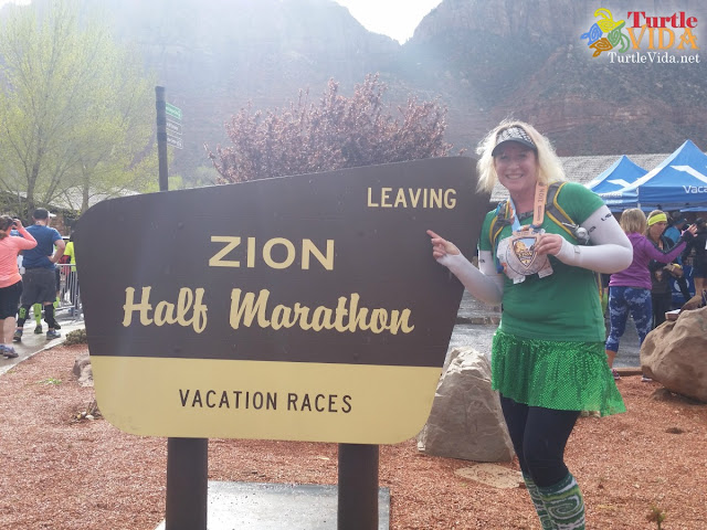 I was so glad to be finished and to get the medal placed around my neck. Speaking of the medal, it was AMAZING! One of my favorite medals, for sure. | #ZionHalf