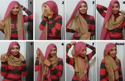 Tutorial Hijab Dua Warna