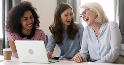 Happy women employees