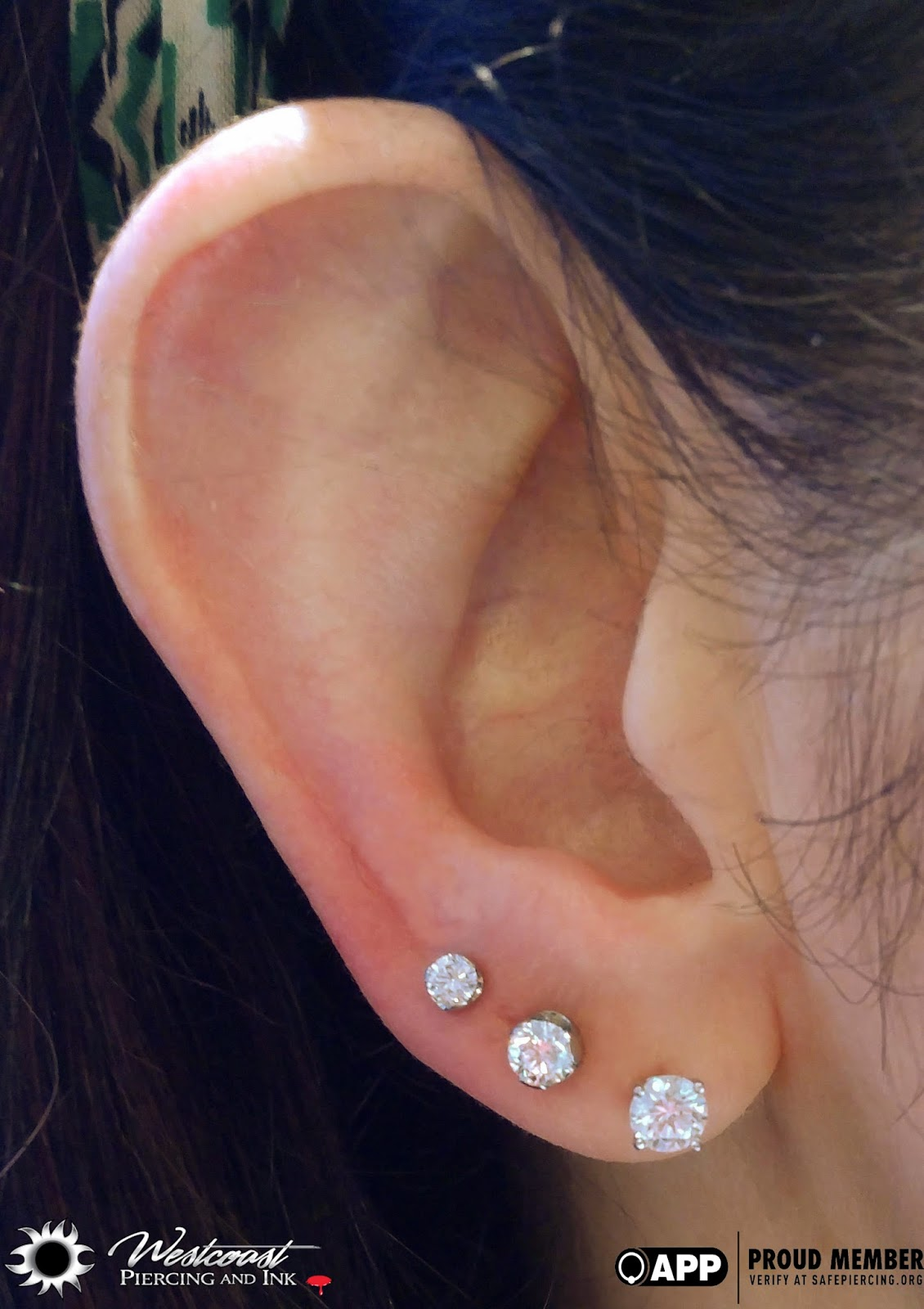 Dazzling 2nd And 3rd Lobe Piercings Done With These 18k White Gold 3 4mm Diamond Standard Earrings By Anatometal