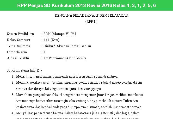 RPP Penjas SD Kurikulum 2013 Revisi 2016 Kelas 4, 3, 1, 2, 5, 6