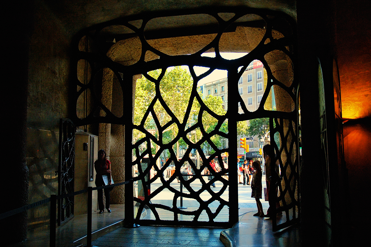 Inside view of Modernist Ironwork Door at Casa Mila or La Pedrera by Gaudi