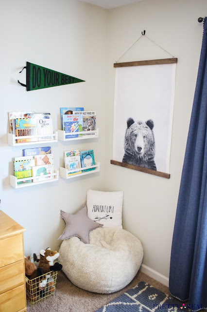 Stylish Reading Nook in a small space with Bear Art, Book Ledges, and Adventure Theme