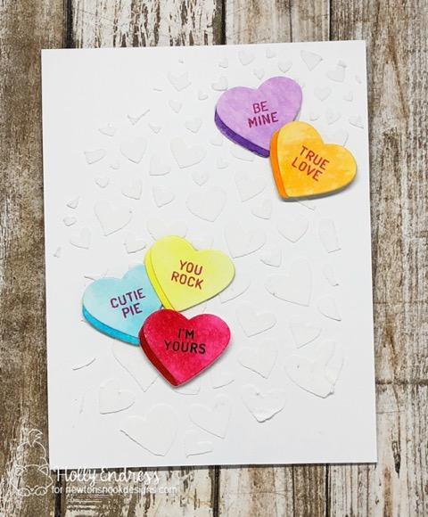 Valentine Card by Holly Endress | Candy Heart Stamp Set and Die Set and Tumbling Hearts Stencil by Newton's Nook Designs #newtonsnook #handmade