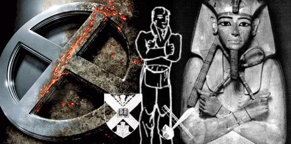 x de los xmen con brazos cruzados de la masonería con faraon egipcio