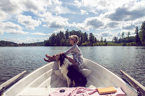 Lake, Boat and Dog