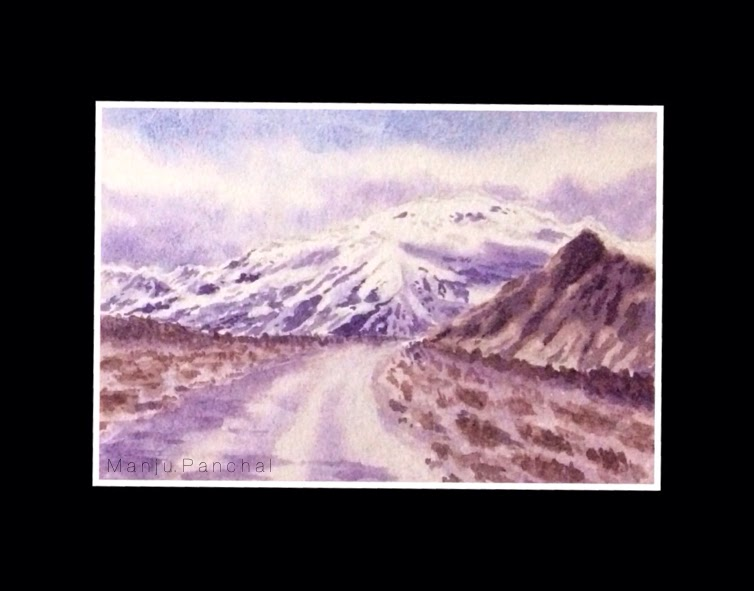 Water colour painting of Leh ladakh mountains on indian hand made paper by Manju Panchal