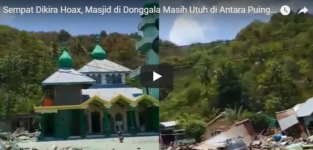 Masjid di Donggala Masih Utuh usai Dilanda Gempa, Sempat Disangka Hoax, Tonton Video Penampakannya!