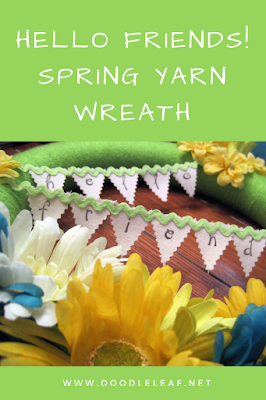 Hello Friends Spring Yarn Wreath
