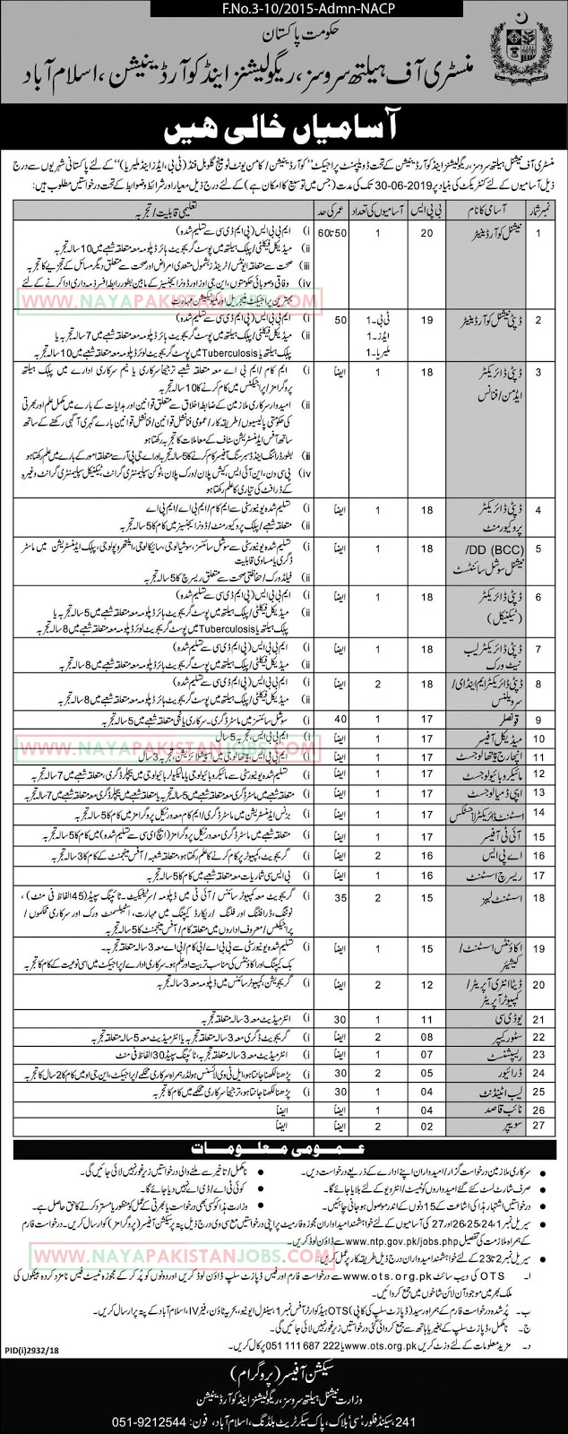 Ministry Of Health Services Jobs, Ministry of Health Department Jobs 2019 , Ministry Of Health Services Jobs 2019 | OTS Application form