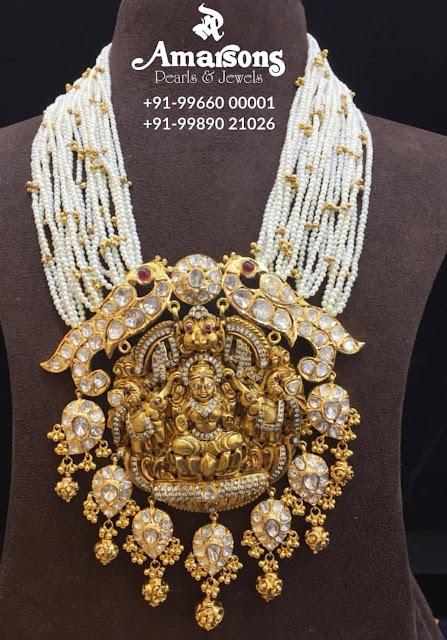 Heavy Kundan Lakshmi Pendant by Amarsons