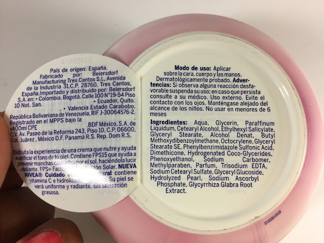 Crema de Aclarado Natural de Nívea Ingredientes FPS