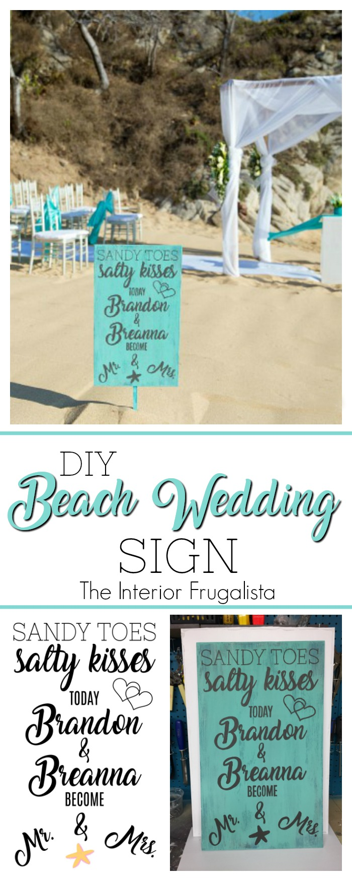 Planning a beach destination wedding? Here's a fun idea for a DIY Beach Wedding Sign that can fit in a suitcase and be assembled at the resort. #diyweddingdecor #weddingsign #destinationweddingidea #beachweddingsign