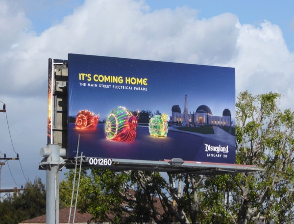 Disneyland Electrical Parade coming home billboard