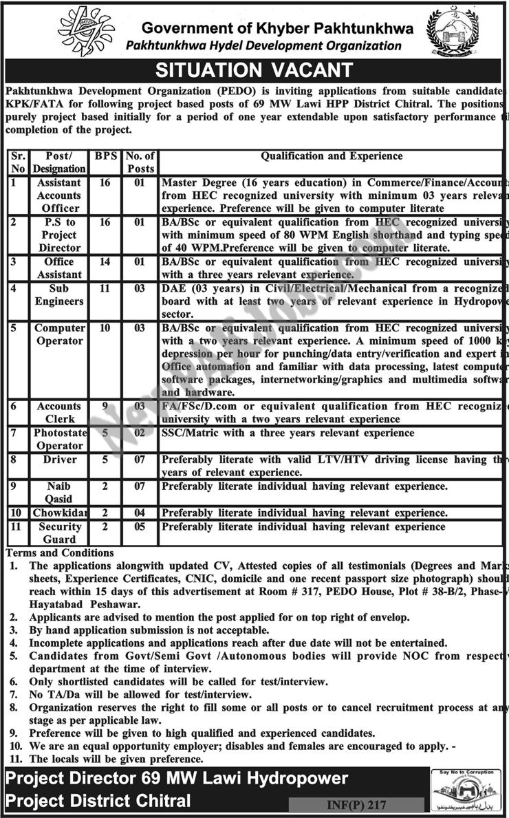 Jobs in Pakhtunkhwa Development Organization PEDO newpakjobs.com