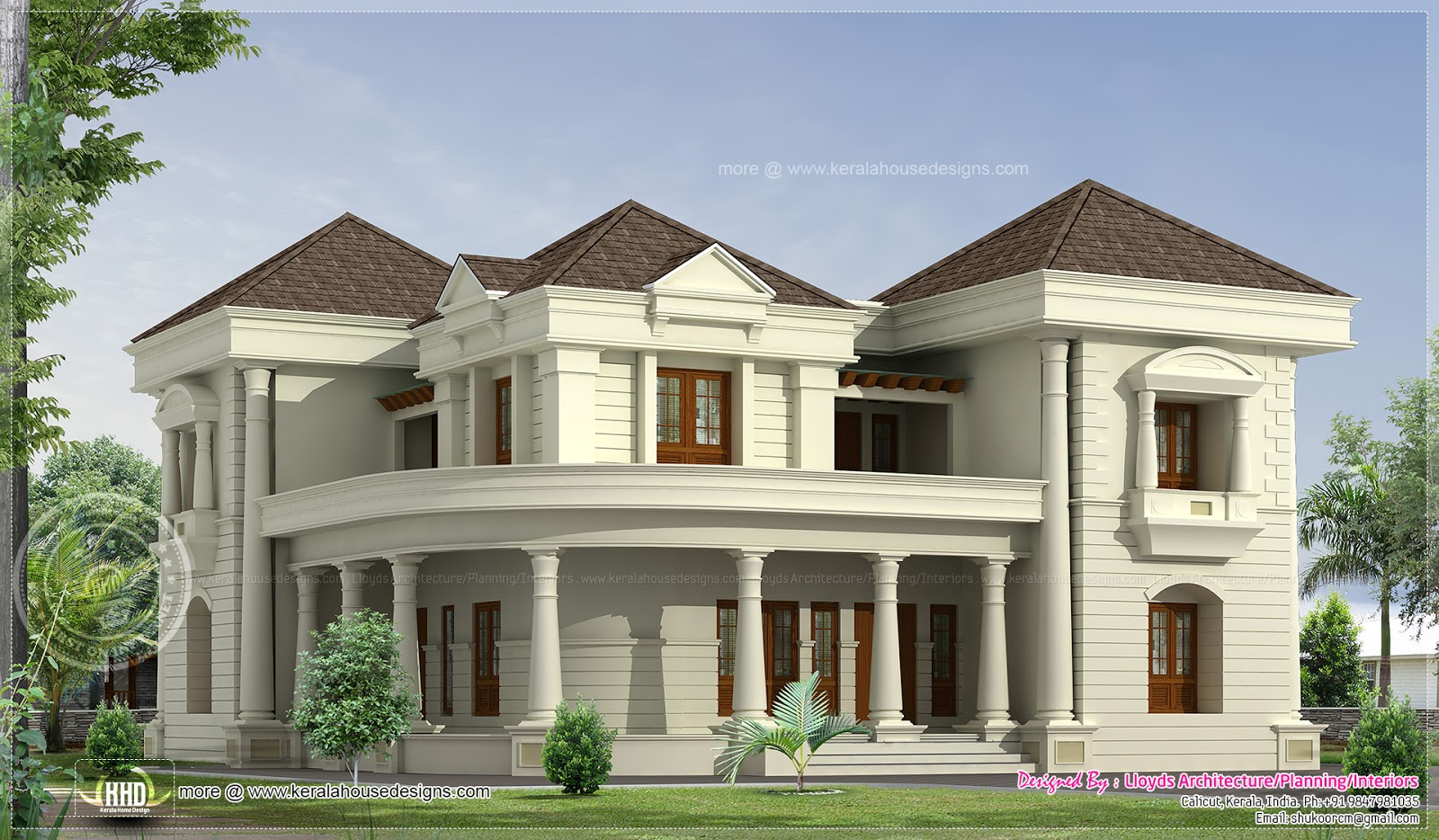 5 bedroom luxurious bungalow floor plan and 3d view for South indian small house designs
