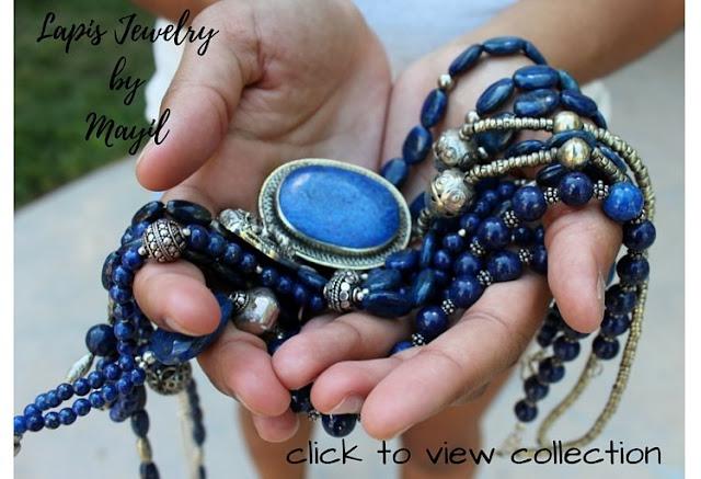 Mayil scarves Lapis Lazuli necklaces