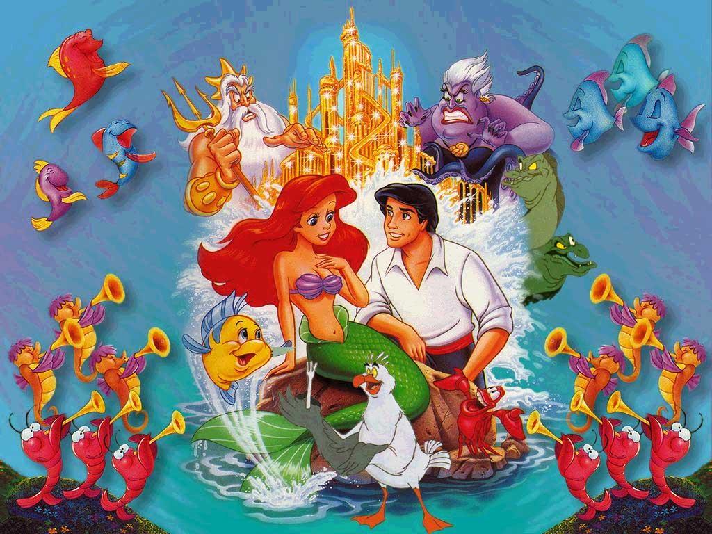 ccb968a06 En la foto, arriba: El rey Tritón y la bruja del mar, Úrsula. En el centro,  de izquierda a derecha: Flounder, Ariel, Scuttle, Eric y Sebastián.