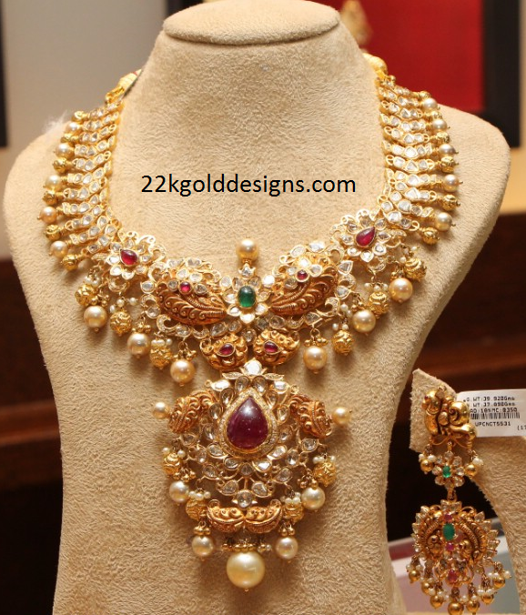 Designer Polki Diamond Necklace Design