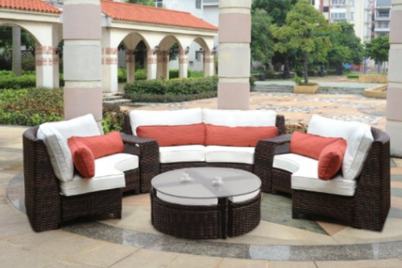 Saint Tropez 6 Piece Patio Outdoor Curved Sectional Seating Set by South Sea Rattan, Outdoor Furniture, Curved Patio Furniture, Modern Curved Sectionals, Curved Sectional, Curved Patio Furniture,