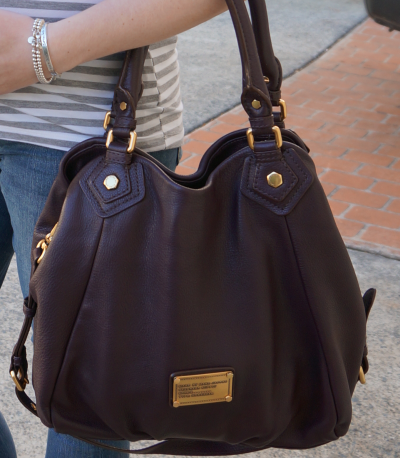 away from the blue blogger marc by marc jacobs carob brown fran handbag