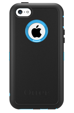 Black Oterbox case over a blue iPhone 5c
