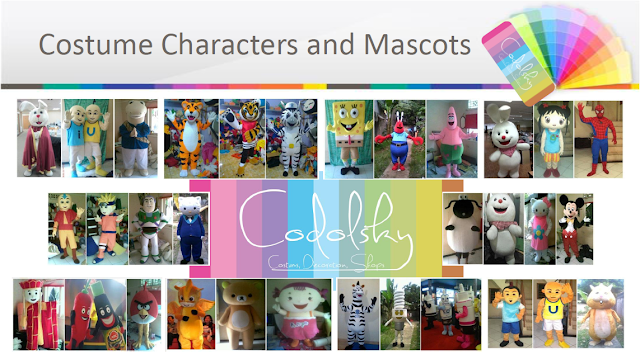 Kostum (Baju) Badut berbagai karakter kartun (Cartoon) TV terkenal seperti Walt Disney, Cartoonetwork, kartun Jepang, dsb. Dan Kostum Boneka Maskot yang dipakai orang untuk keperluan promosi produk barang dan jasa