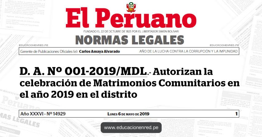 D. A. Nº 001-2019/MDL - Autorizan la celebración de Matrimonios Comunitarios en el año 2019 en el distrito - Municipalidad de Lurigancho Chosica